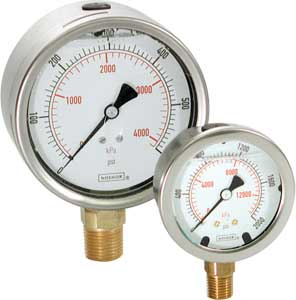 NoShok 900 Series ABS and Stainless Steel Liquid Filled Gauges